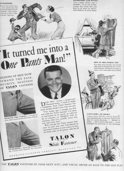 "1937 Talon Slide Fastener Ad ""One Pants Man"""