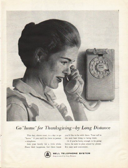 """1961 Bell Telephone System Ad """"""""home"""" for Thanksgiving"""""""