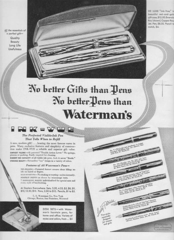 """1937 Waterman's Pens Ad """"No Better Gifts"""""""
