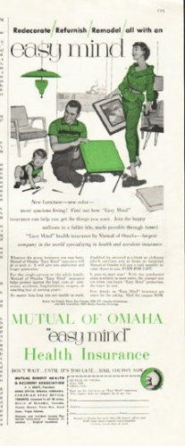 """1956 Mutual of Omaha Ad """"easy mind"""""""