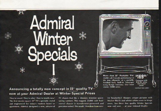 """1963 Admiral Television Ad """"totally new concept"""""""