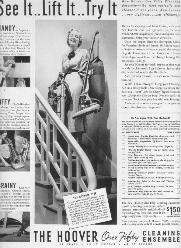 """1937 Hoover Vacuum Ad """"See It .. Lift It .. Try It"""""""
