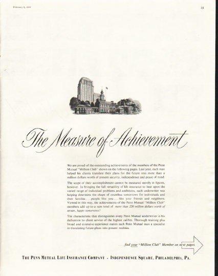 "1958 Penn Mutual Life Insurance Ad ""The Measure of Achievement"""