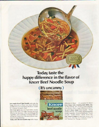 """1964 Knorr Soup Ad """"Beef Noodle"""""""