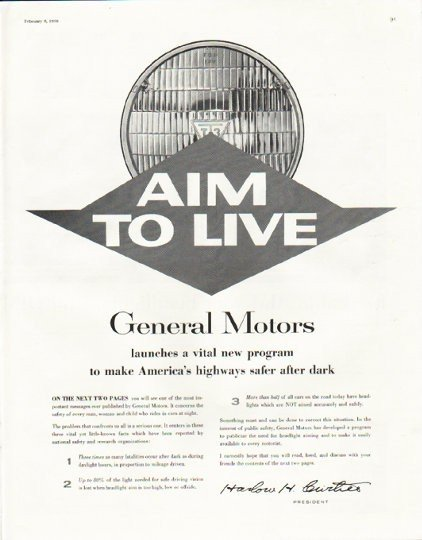 "1958 General Motors Ad ""Aim to Live"""