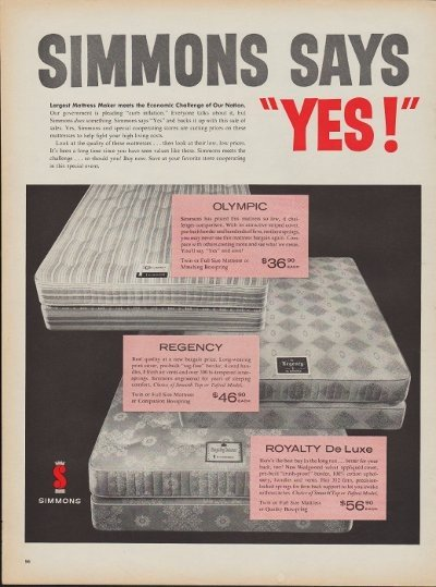 """1960 Simmons Mattress Ad """"Simmons Says Yes!"""""""