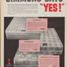"1960 Simmons Mattress Ad ""Simmons Says Yes!"""