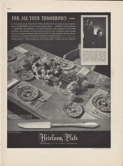 """1937 Heirloom Plate Silver Ad """"For All Your Tomorrows"""""""