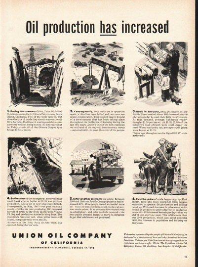 "1948 Union Oil Company Ad ""production has increased"""