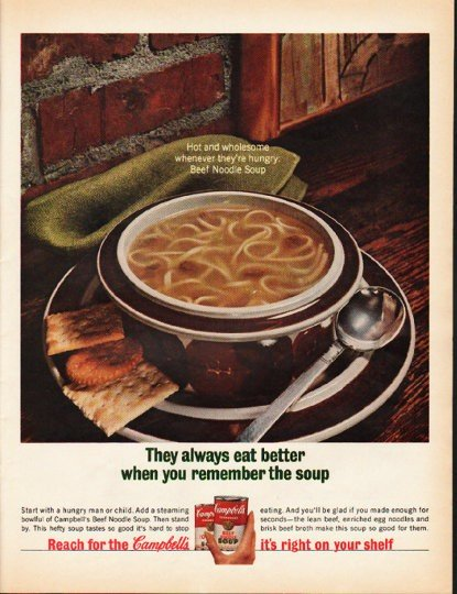 "1965 Campbell's Soup Ad ""Hot and wholesome"""