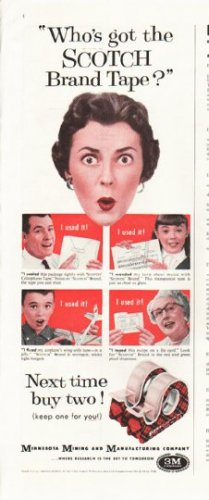 "1958 Scotch Brand Tape Ad ""Who's got"""