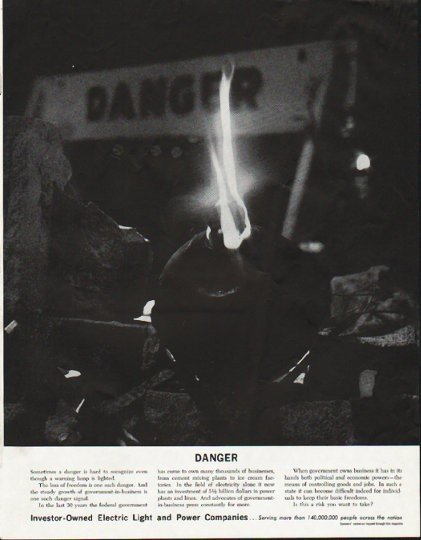 """1963 Electric Light and Power Companies Ad """"Danger"""""""