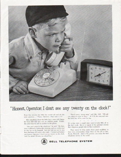 "1963 Bell Telephone System Ad ""Honest, Operator"""
