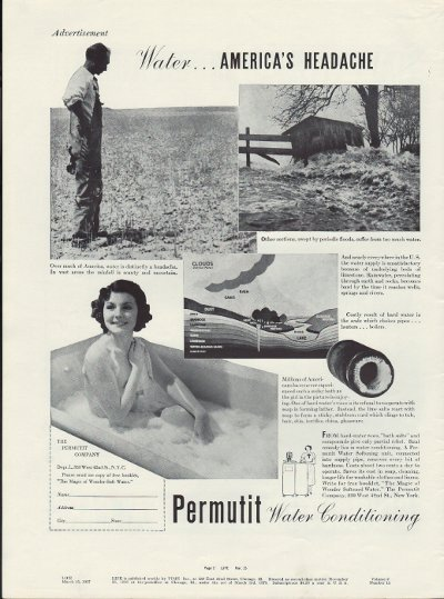 "1937 Permutit Water Conditioning Ad ""Headache"""