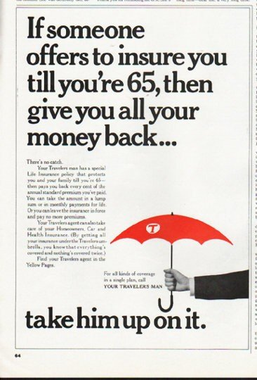 """1965 Travelers Insurance Ad """"all your money back"""""""