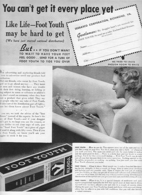 "1937 Seebasco Foot Soap Ad ""Foot Youth"""
