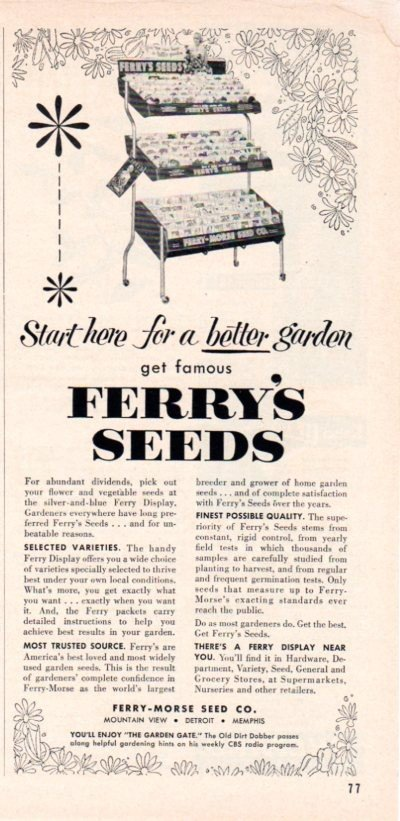 """1953 Ferry-Morse Seed Co. Ad """"Start Here"""""""