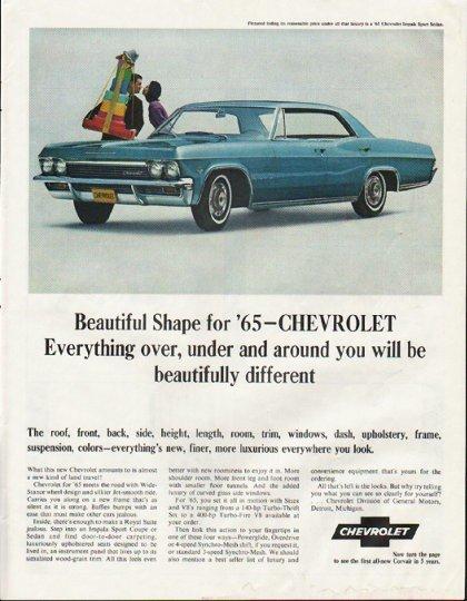 "1965 Chevrolet Impala Ad ""Beautiful Shape"" ~ (model year 1965)"