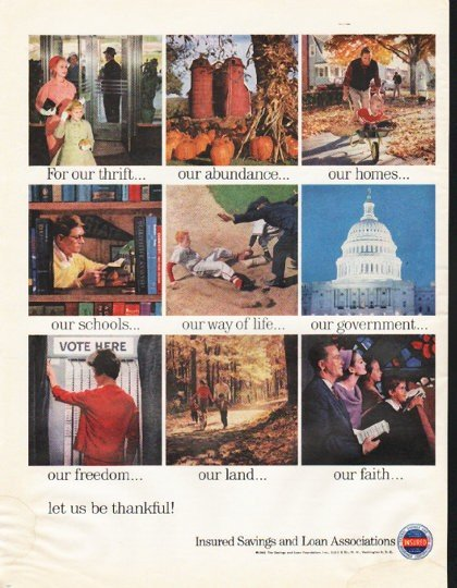 """1961 Insured Savings and Loan Associations Ad """"For our thrift"""""""