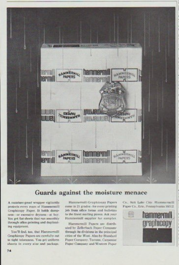"1965 Hammermill Bond Ad ""the moisture menace"""