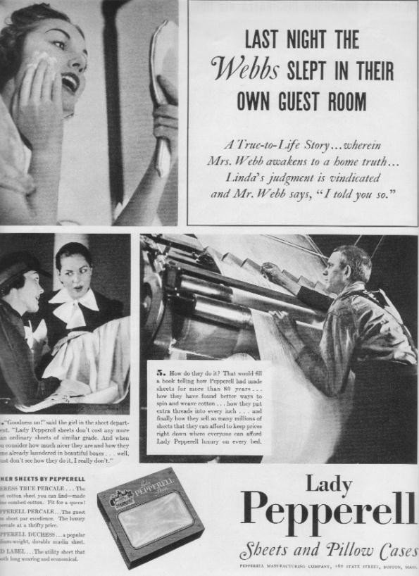 """1937 Lady Pepperell Sheets Ad """"The Webbs"""""""