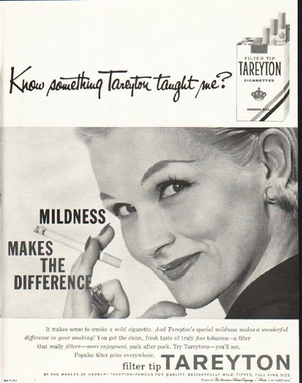 "1958 Tareyton Cigarettes Ad ""Know something"""