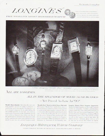 "1963 Longines-Wittnauer Watch Ad ""in the splendor"""