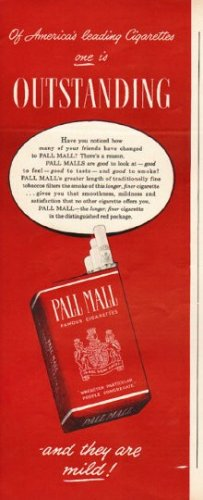 """1948 Pall Mall Cigarettes Ad """"Outstanding"""""""