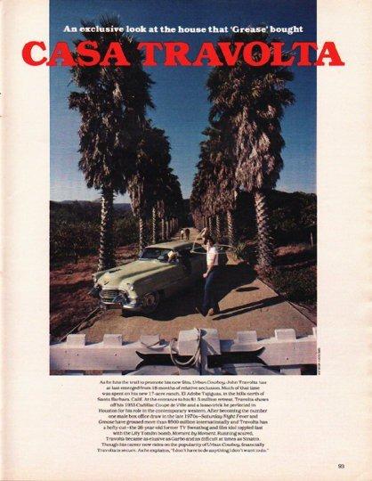 """1980 John Travolta Article """"Casa Travolta"""""""