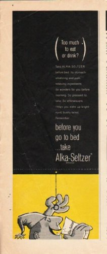 """1963 Alka-Seltzer Ad """"before you go to bed"""""""