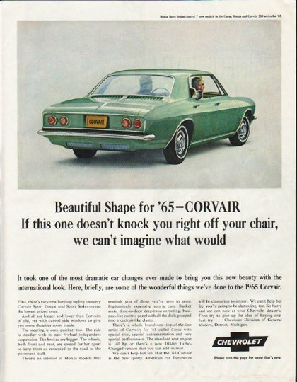 """1965 Chevrolet Corvair Ad """"off your chair"""" ~ (model year 1965)"""