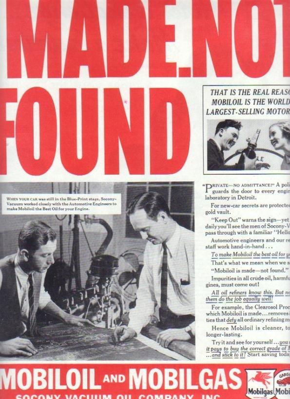 "1937 Mobiloil & Mobilgas Ad ""MADE.NOT FOUND"""