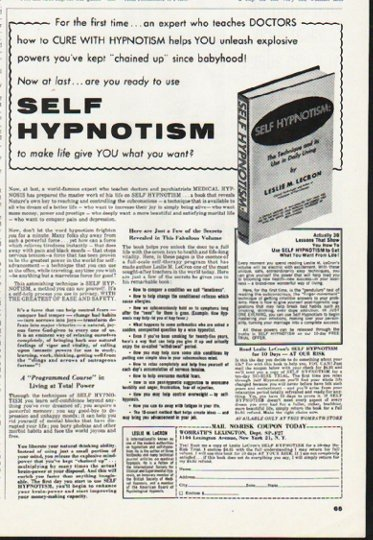 1965 Self Hypnotism Book Ad ~ by Leslie M. Lecron
