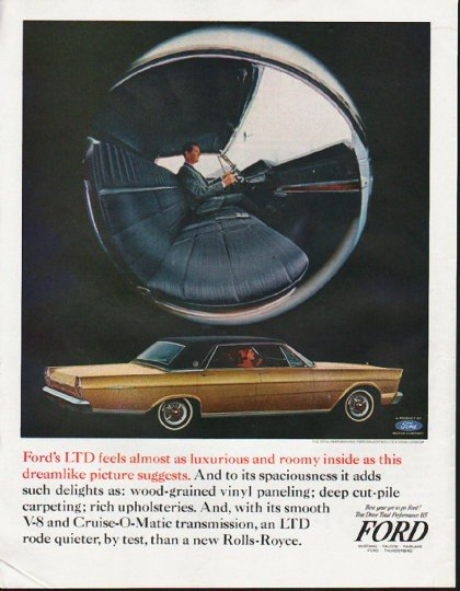 """1965 Ford Galaxie Ad """"luxurious and roomy"""" ~ (model year 1965)"""