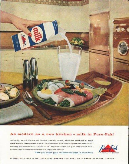 "1958 Pure-Pak Ad ""modern as a new kitchen"""