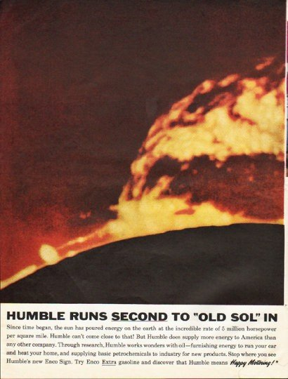 "1961 Humble Oil & Refining Ad ""Humble runs second"""