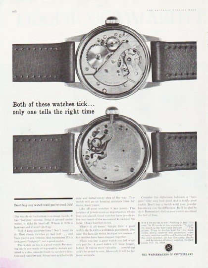 "1959 Watchmakers of Switzerland Ad ""Both of these watches"""
