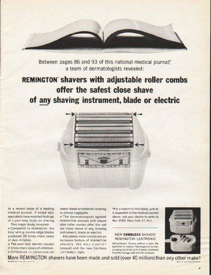 "1961 Remington Shaver Ad ""adjustable roller combs"""