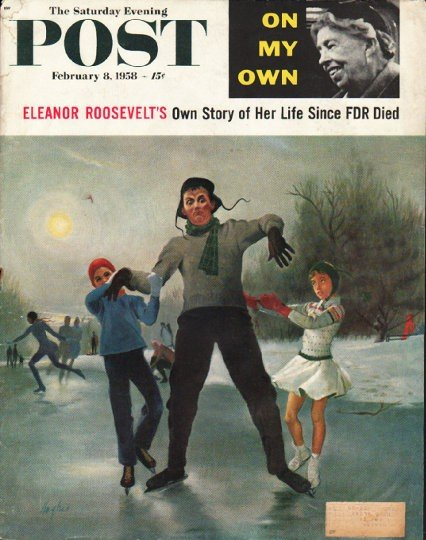 "1958 Saturday Evening Post Cover Page ""Eleanor Roosevelt"" ~ February 8, 1958"
