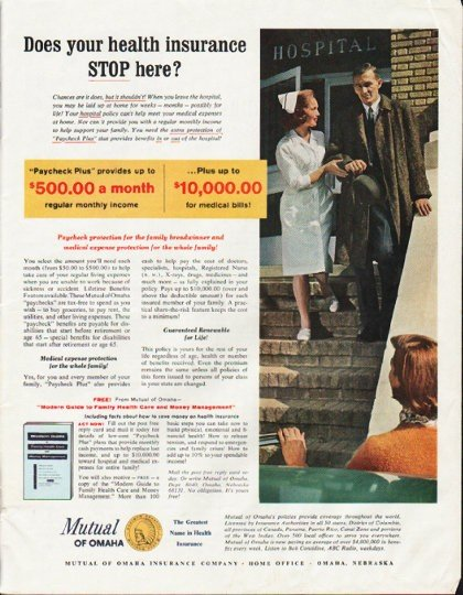 """1964 Mutual of Omaha Ad """"your health insurance"""""""