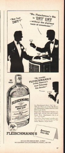 """1948 Fleischmann's Gin Ad """"Not just dry"""""""