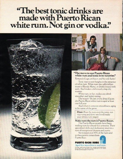 "1980 Puerto Rican Rums Ad ""best tonic drinks"""