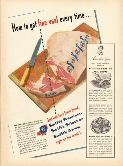 "1948 Swift's Veal Ad ""fine veal"""