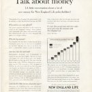 """1961 New England Mutual Life Insurance Ad """"Talk about money"""""""