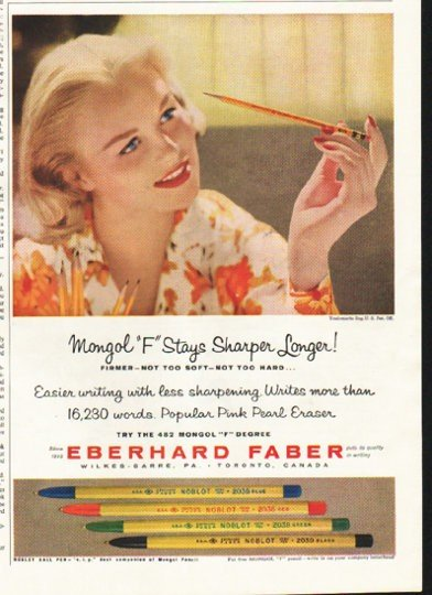 "1958 Eberhard Faber Ad ""Stays Sharp Longer"""