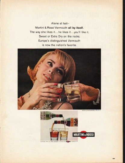 "1965 Martini & Rossi Ad ""Alone at last"""
