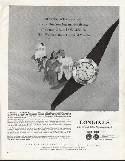 "1964 Longines-Wittnauer Watch Ad ""Ultra-thin"""