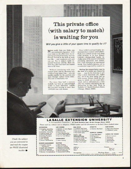 """1965 LaSalle Extension University Ad """"This private office"""""""