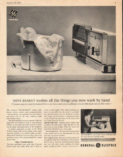 "1963 General Electric Washing Machine Ad ""Mini-Basket"""