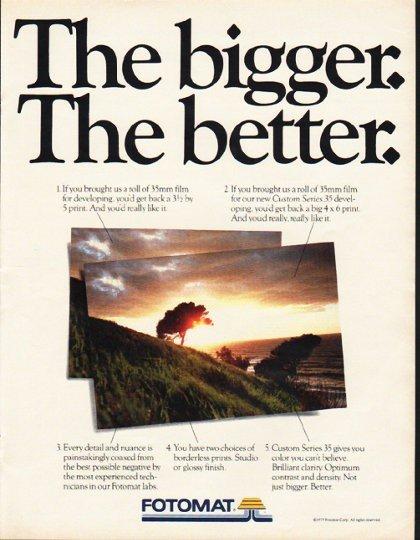 "1980 Fotomat Ad ""The bigger"""